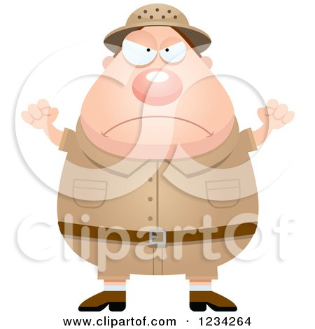 Clipart of a Mad Safari or Explorer Man Waving His Fists - Royalty Free Vector Illustration by Cory Thoman