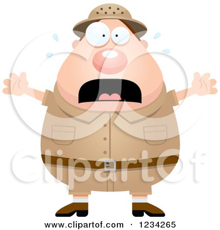 Clipart of a Scared Screaming Safari or Explorer Man - Royalty Free Vector Illustration by Cory Thoman