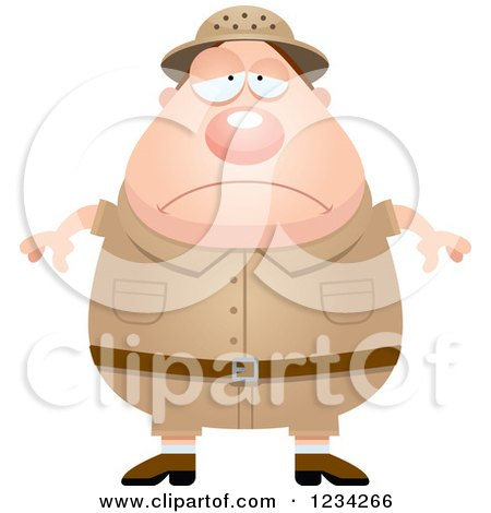Clipart of a Depressed Safari or Explorer Man - Royalty Free Vector Illustration by Cory Thoman