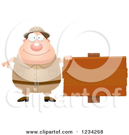 Clipart of a Safari or Explorer Man with a Wood Sign - Royalty Free Vector Illustration by Cory Thoman