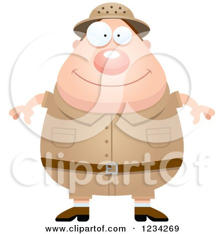 Clipart of a Happy Safari or Explorer Man - Royalty Free Vector Illustration by Cory Thoman