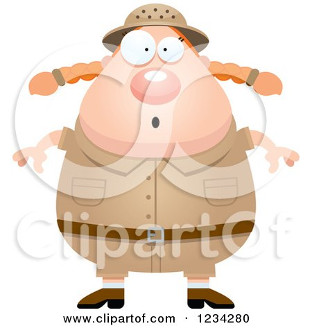 Clipart of a Surprised Gasping Safari or Explorer Woman - Royalty Free Vector Illustration by Cory Thoman