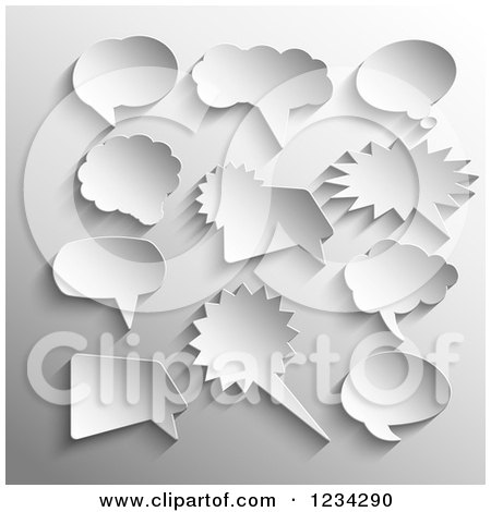 Clipart of 3d Speech Bubbles on Gray - Royalty Free Vector Illustration by KJ Pargeter