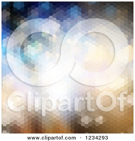 Clipart of a Gradient Abstract Hexagon Background - Royalty Free Vector Illustration by KJ Pargeter