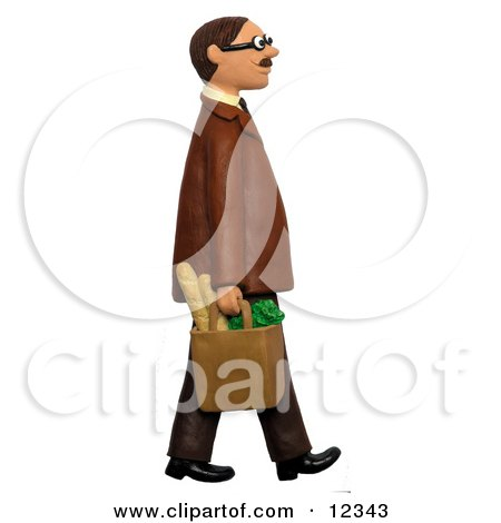 Clay Sculpture Clipart Man Walking With A Bag Of Groceries - Royalty Free 3d Illustration  by Amy Vangsgard