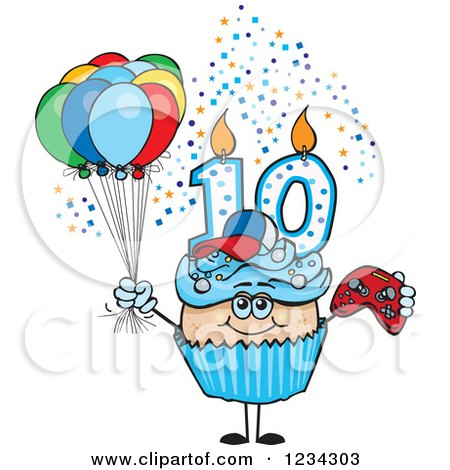 Clipart of a Blue Boys Tenth Birthday Cupcake with a Video Game Controller and Balloons - Royalty Free Vector Illustration by Dennis Holmes Designs