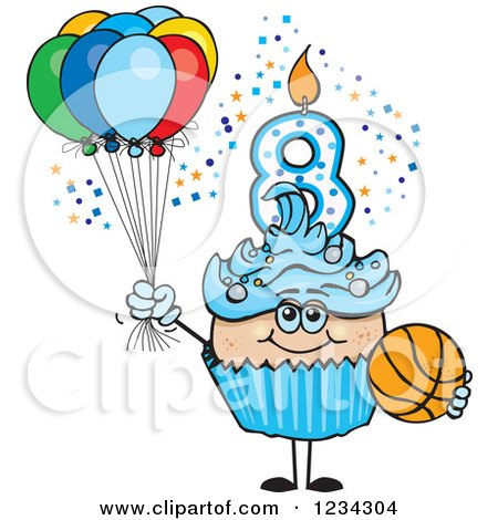 Clipart of a Blue Boys Eighth Birthday Cupcake with a Basketball and Balloons - Royalty Free Vector Illustration by Dennis Holmes Designs