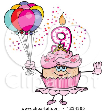 Clipart of a Pink Girls Ninth Birthday Ballerina Cupcake with Balloons - Royalty Free Vector Illustration by Dennis Holmes Designs