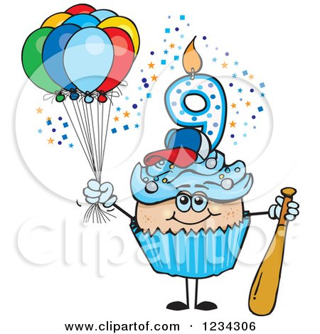Clipart of a Blue Boys Ninth Birthday Cupcake with a Baseball Bat and Balloons - Royalty Free Vector Illustration by Dennis Holmes Designs