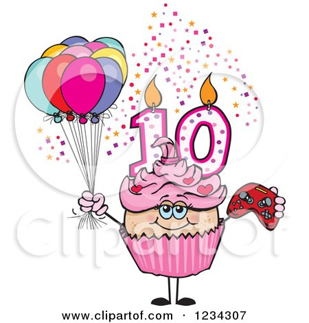 Clipart of a Pink Girls Tenth Birthday Cupcake with a Video Game Controller and Balloons - Royalty Free Vector Illustration by Dennis Holmes Designs