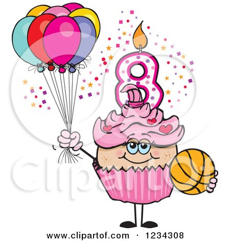 Clipart of a Pink Girls Eighth Birthday Cupcake with a Basketball and Balloons - Royalty Free Vector Illustration by Dennis Holmes Designs