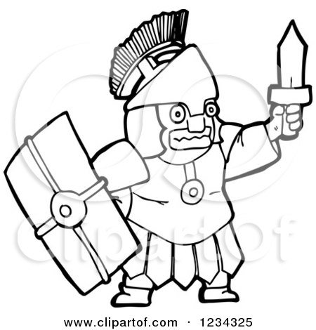 Clipart of a Black and White Roman Soldier - Royalty Free Vector Illustration by lineartestpilot
