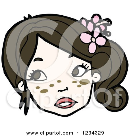 Clipart of a Girl with Flowers in Her Hair - Royalty Free Vector Illustration by lineartestpilot