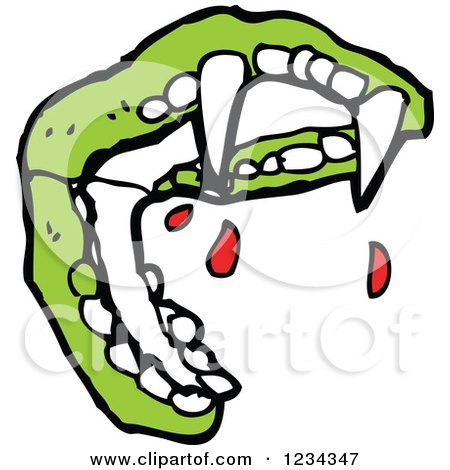 Clipart of Green Vampire Teeth with Blood - Royalty Free Vector Illustration by lineartestpilot