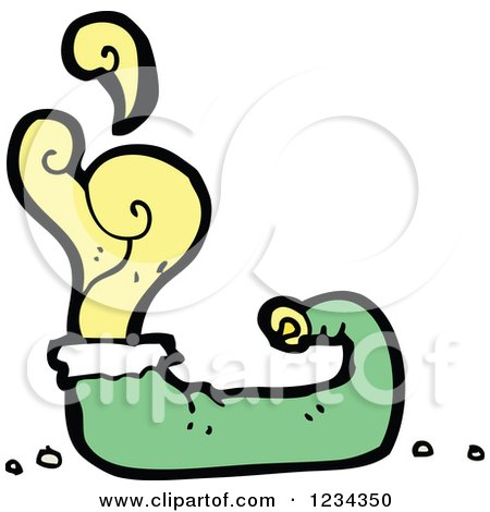 Clipart of a Green Elf Shoe with Yellow Odor - Royalty Free Vector Illustration by lineartestpilot