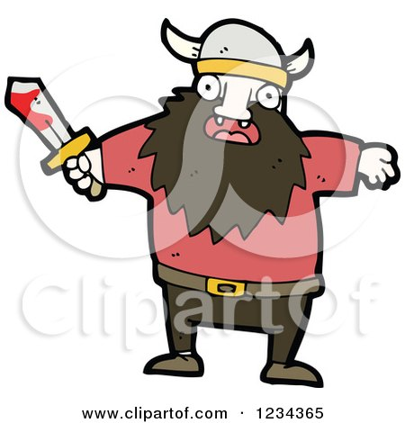 Clipart of a Viking Man with a Bloody Sword - Royalty Free Vector Illustration by lineartestpilot