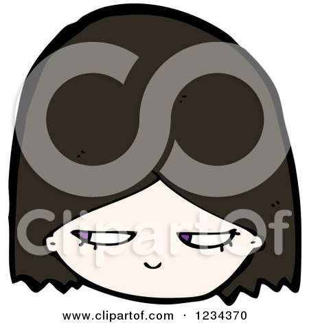 Clipart of a Suspicious Brunette Girl - Royalty Free Vector Illustration by lineartestpilot