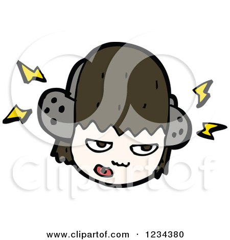 Clipart of a Brunette Girl Wearing Headphones - Royalty Free Vector Illustration by lineartestpilot