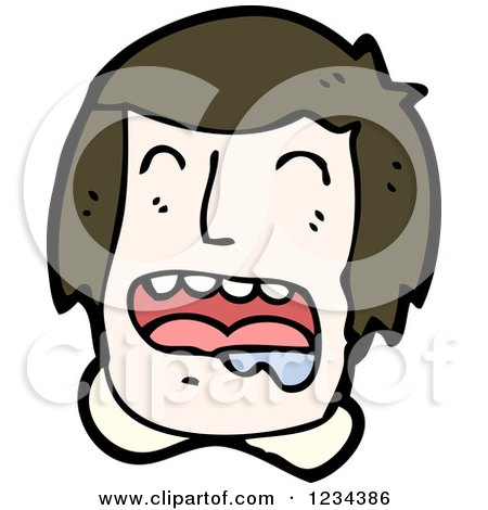 Clipart of a Man Drooling and Crying - Royalty Free Vector Illustration by lineartestpilot