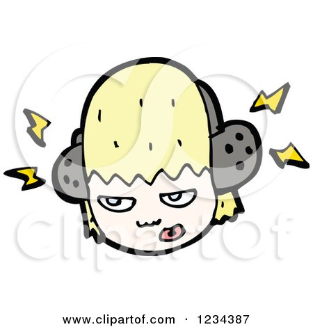 Clipart of an Angry Blond Girl Wearing Headphones - Royalty Free Vector Illustration by lineartestpilot