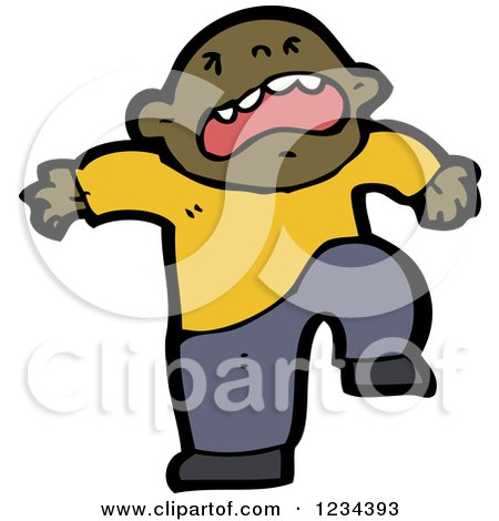 Clipart of a Stomping Black Man - Royalty Free Vector Illustration by lineartestpilot