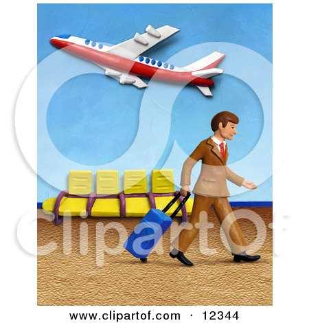 3d Traveling Businessman Walking In An Airport Posters, Art Prints