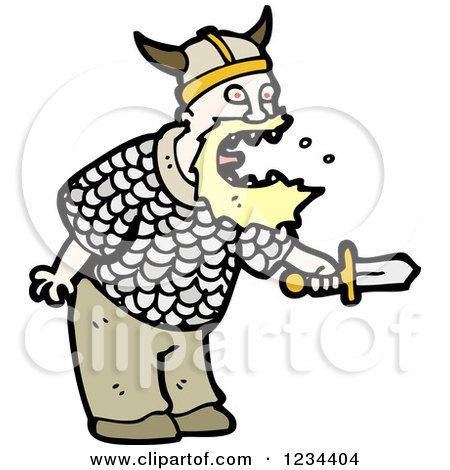 Clipart of a Viking Man Yelling - Royalty Free Vector Illustration by lineartestpilot