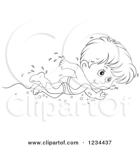 Clipart of a Black and White Boy Swimming Laps in a Pool - Royalty Free Vector Illustration by Alex Bannykh
