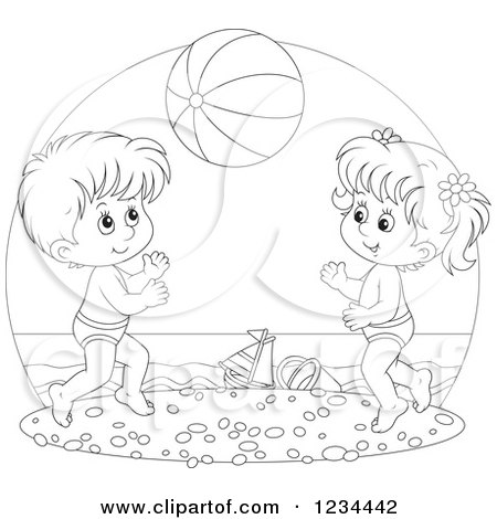 Black And White Children Playing With A Ball On Beach