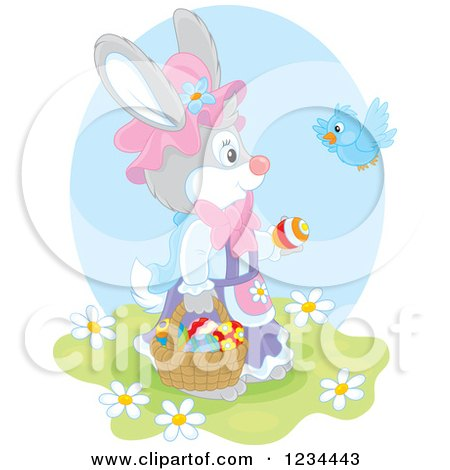 Clipart of a Bird Talking to a Female Easter Bunny with a Basket of Eggs - Royalty Free Vector Illustration by Alex Bannykh