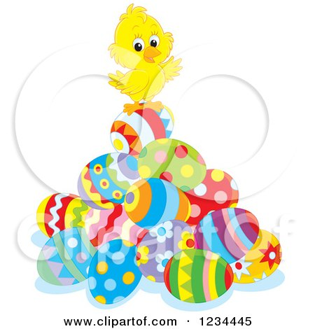 Clipart of a Cute Easter Chick on a Pile of Eggs - Royalty Free Vector Illustration by Alex Bannykh