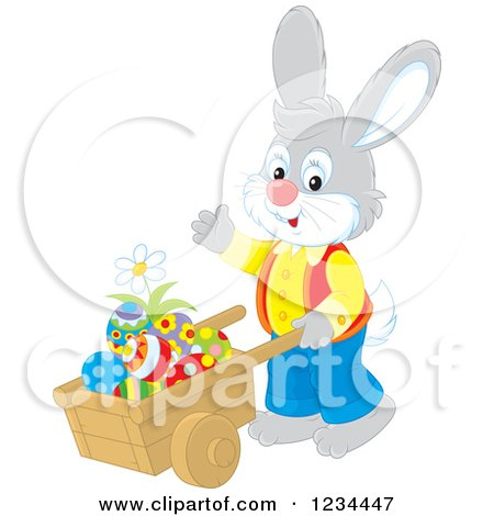 Clipart of a Male Easter Bunny Pushing Eggs in a Wheelbarrow - Royalty Free Vector Illustration by Alex Bannykh