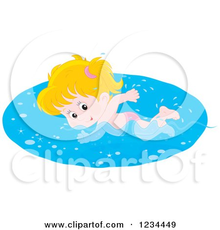 Clipart of a White Girl Swimming Laps in a Pool - Royalty Free Vector Illustration by Alex Bannykh