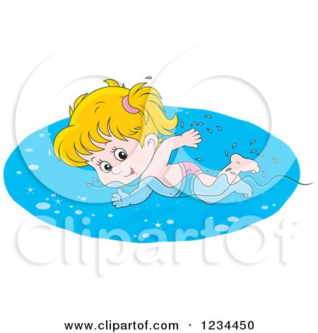Clipart of a Caucasian Girl Swimming Laps in a Pool - Royalty Free Vector Illustration by Alex Bannykh