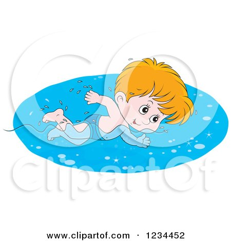 Clipart of a Caucasian Boy Swimming Laps in a Pool - Royalty Free Vector Illustration by Alex Bannykh