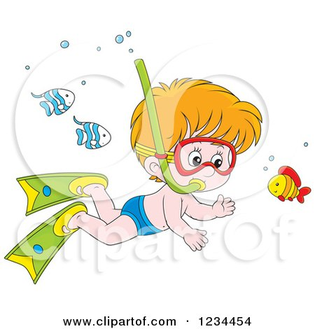 Clipart of a Caucasian Boy Snorkeling Around Fish - Royalty Free Vector Illustration by Alex Bannykh