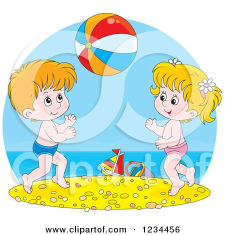 Clipart of Caucasian Children Playing with a Ball on a Beach - Royalty Free Vector Illustration by Alex Bannykh