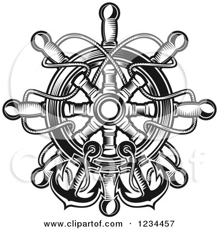 Clipart of a Black and White Nautical Ship Helm with Rope and Anchors - Royalty Free Vector Illustration by Vector Tradition SM
