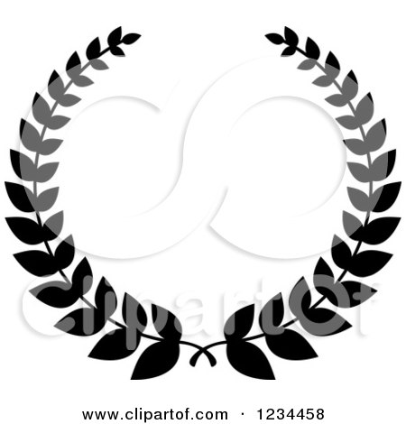 Clipart of a Black and White Laurel Wreath 9 - Royalty ...