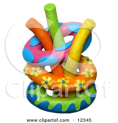 Clay Sculpture Clipart Inner Tubes With Swimming Pool Noodle Toys - Royalty Free 3d Illustration  by Amy Vangsgard