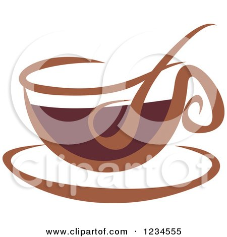 Clipart of a Brown Cafe Coffee Cup with Steam 5 - Royalty Free Vector Illustration by Vector Tradition SM
