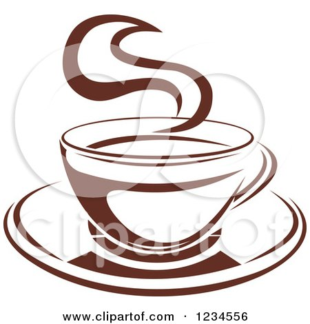Clipart of a Brown Cafe Coffee Cup with Steam 8 - Royalty Free Vector Illustration by Vector Tradition SM