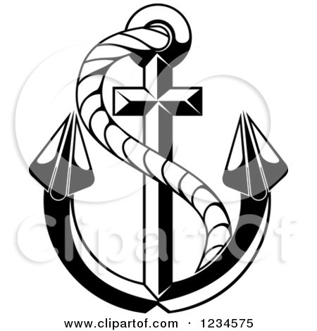 Black and white nautical anchor and rope 2 posters art prints