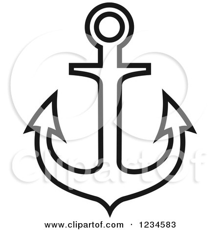 Nautical Clipart Black And White White Anchor Cl...