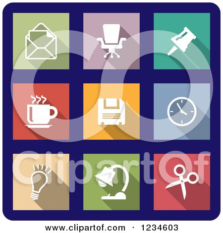 Clipart of Colorful Office Icons on Navy Blue - Royalty Free Vector Illustration by Vector Tradition SM