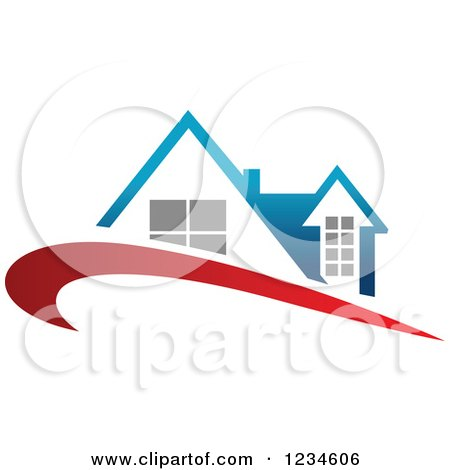 Clipart of a House with a Blue Roof and Red Swoosh - Royalty Free Vector Illustration by Vector Tradition SM
