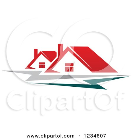 Clipart of Houses with Red Roofs and Teal and Gray Swooshes - Royalty Free Vector Illustration by Vector Tradition SM