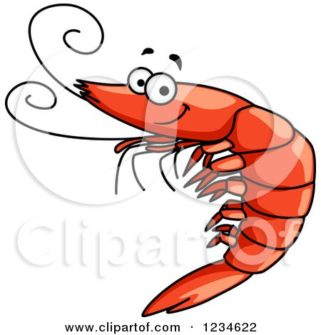 Clipart of a Happy Prawn - Royalty Free Vector Illustration by Vector Tradition SM