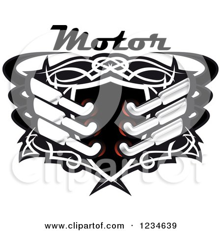 Clipart of a Motor Text over a Black Shield with Tribal Designs and Mufflers - Royalty Free Vector Illustration by Vector Tradition SM