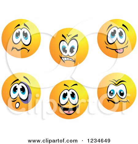Clipart of Worried Mean and Goofy Emoticon Faces - Royalty Free Vector Illustration by Vector Tradition SM